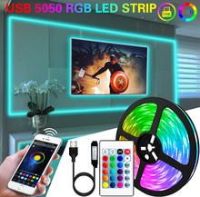 1M 2M 3M 5M 10M taśmy LED światła elastyczna lampa USB Led z Bluetooth oświetlenie 5050 taśma RGB diody do tik tok światła podświetlenie TV Party tanie tanio RiRi won CN (pochodzenie) ROHS SALON 50000 MOTION 5 76 w m Edison Smd5050 USB 5050 RGB 5050 led strip with white purple yellow light