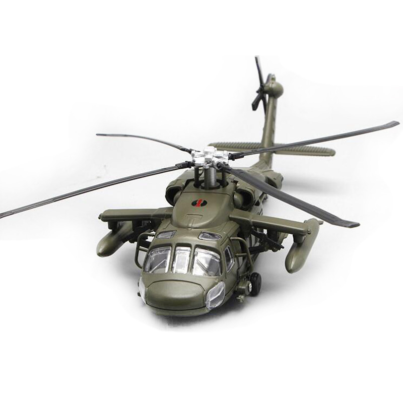 Alloy Diecast Black Hawk Armed Helicopter Fighter Model With Sound & Light Children Collection Graded Kids Toys