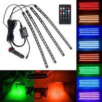 5050-18smd Acht Farben RGB Musik Control Auto Innen Dekoration Lampe LED Automobil Chassis Lichter Bar Neon Streifen mit Fernbedienung