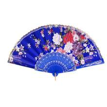 Süße Stil Blumen Hand Fan Folding Fan Tanzen Party Fan Königlichen Blau(China)