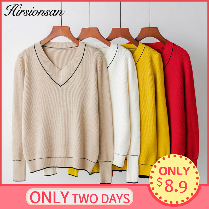 Hirsionsan Autumn Winter Sweater Women 2019 V-neck Knitted Pullover Female Soft Basic Cashmere Jumper Casual Loose Sweaters