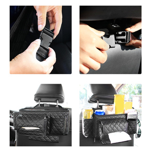 Image 2 - Car Back Seat Organizer Bag Multi Pocket Hanging Pouch Leather Storage Bag