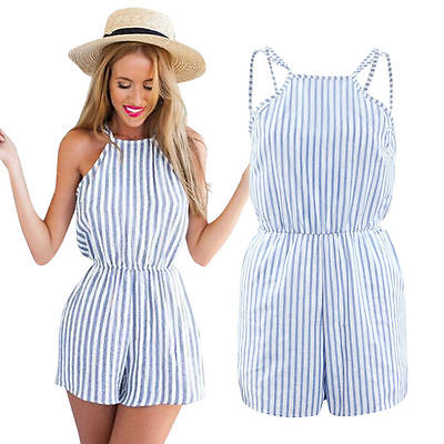 Fashion Women's Ladies Stylish Striped Halter Neck Sleeveless Summer Holiday Mini Playsuit Jumpsuit Shorts Rompers Beach Wear