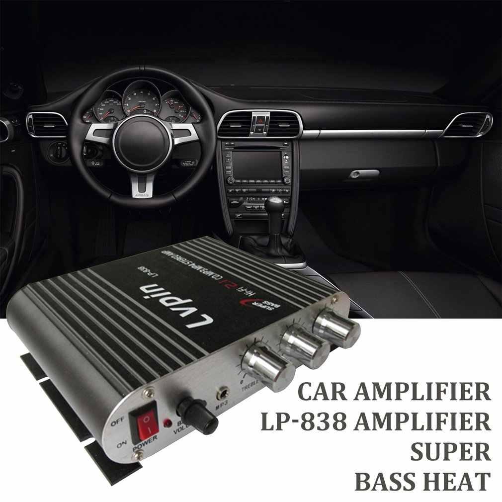Lepy lp-838 amplificador de carro de potência hi-fi 2.1 mp3 rádio áudio estéreo baixo alto-falante impulsionador player para moto casa sem ficha de alimentação