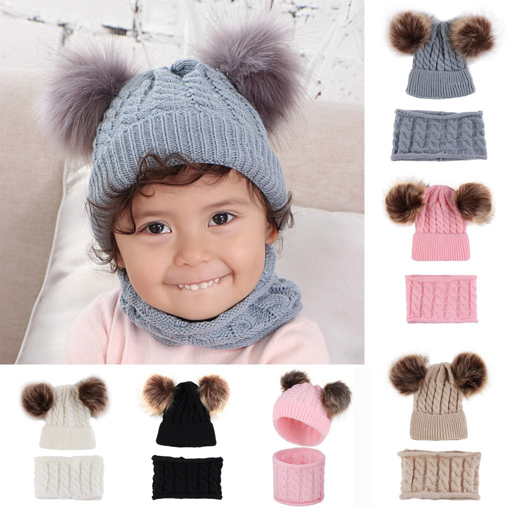 Winter Baby Solid Winter Warm Thread Knit Wrap Double Hair Ball Head Cap Scarf Hat Suit Scarf, Hat & Glove Sets  Accessories