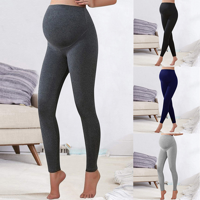 Winter Leggings Trousers Warm Solid Pregnancy Clothes For Pregnant Women High Waist Stretch Pencil Pants Black Trousers Pants 4