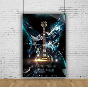 Image 4 - Laeacco תמונה רקע גיטרה מוסיקה דיסקו מסיבת חגיגת גראנג דפוס שיחת וידאו צילום רקע תמונה סטודיו