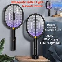 3 IN 1 LED 3000V Moskito-killer Lampe USB Aufladbare Elektrische Insekten Killer Fliegen Klatsche Falle Anti Moskito Fliegen in/Outdoor