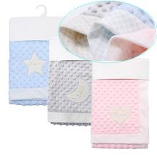 100*75cm personalized soft fleece newborn baby blanket swaddling thermal solid s
