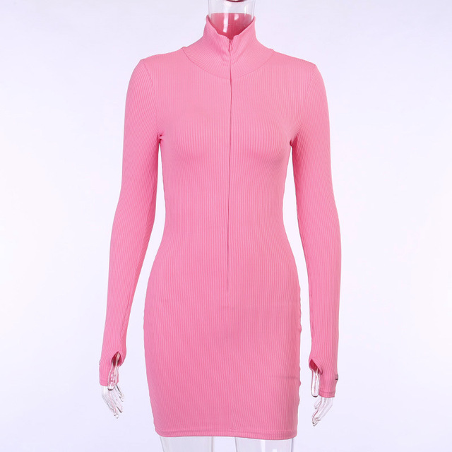 Sexy Zipper Christmas Club Party Dress Women Autumn Winter Embroidery Lucky Label Long Sleeve Knit Rib Bodycon Women Dress Robes 5