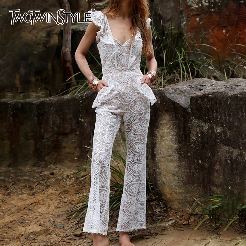 TWOTWINSTYLE Patchwork Lace White Womens Jumpsuits High Waist Wide Leg Pants Casual Sexy Jumpsuit Female 2019 Summer Fashion New