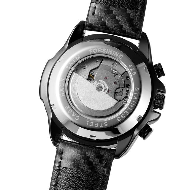 Forsining créatif course voiture mécanique montres automatique Date fonction homme tissu cuir bracelet militaire Sport montre Relogio