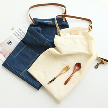 New Nordic style Pure cotton unisex denim apron Coffee shops Flower Shop smock cleaning aprons for woman kitchen Baking daidle