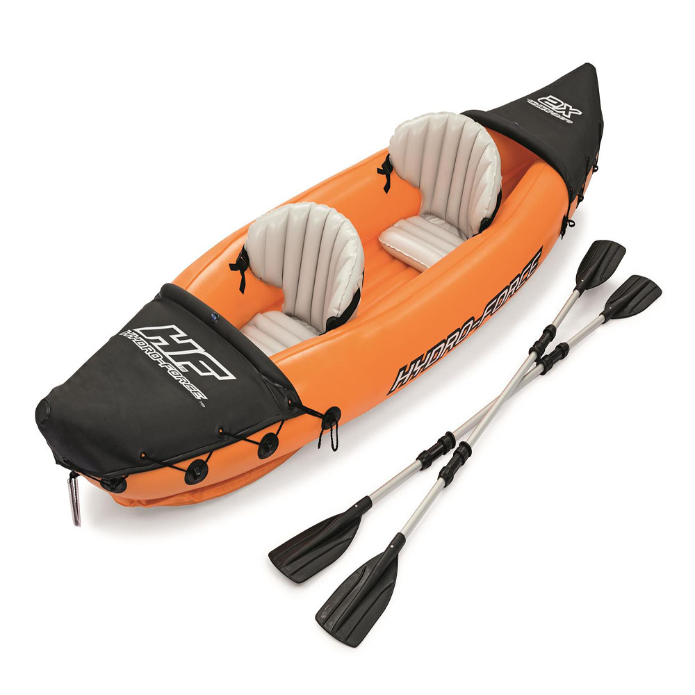 Bestway Portable Thickened Material Double Kayak With Two Detachable Aluminum Alloy Pulps Drift Boat Canoe Style Inflatable Boat