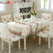 Tablecloth Embroidery European Flowers Lace-Edge Wedding Party Polyester Luxury Home