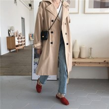 2019 Autumn Turn-down Collar Long Trench Coat Women Casual Vintage Khaki Red Loose Trench Outwear стоимость