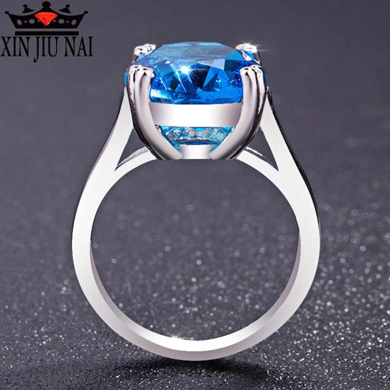 2 cores 925 prata solitário oval anéis de pedra para mulher ampla banda de noivado com cz anel de casamento romântico presente jóias para mulher