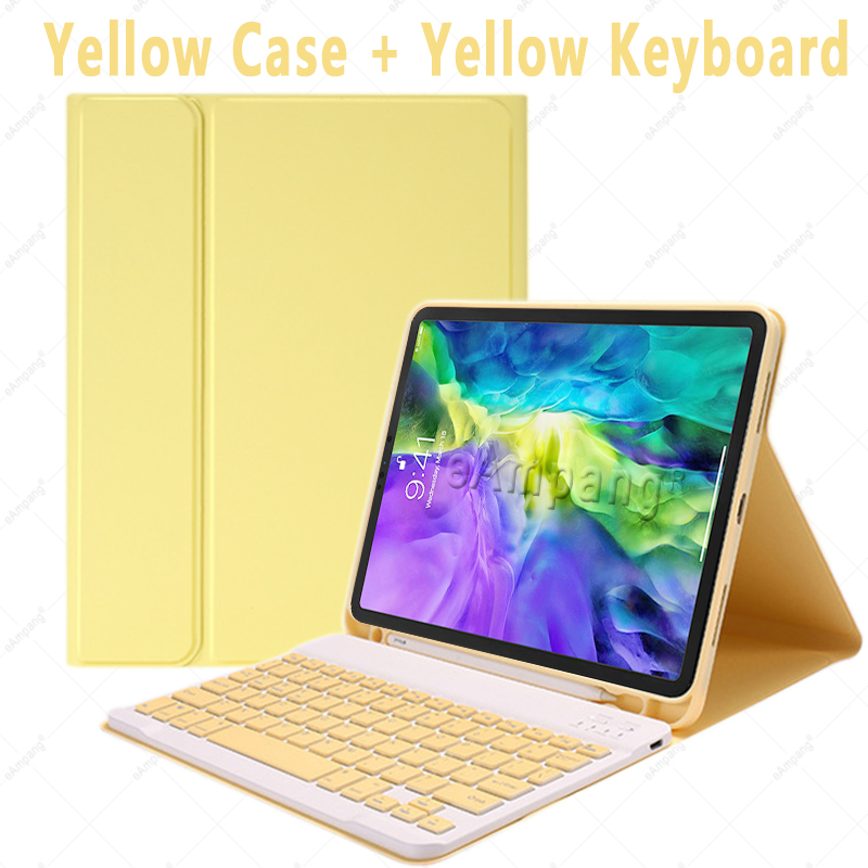 Yellow no Mouse Yellow For iPad Air4 10 9 2020 A2324 A2072 Keyboard Mouse Case English Russian Spanish Korean Keyboard