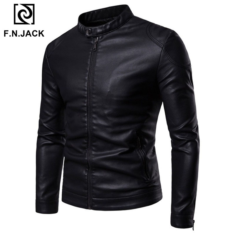 F.N.JACK Mens Leather Jacket Fashion Men's Motorcycle Faux Leather Jackets Classic Mans Winter Coat