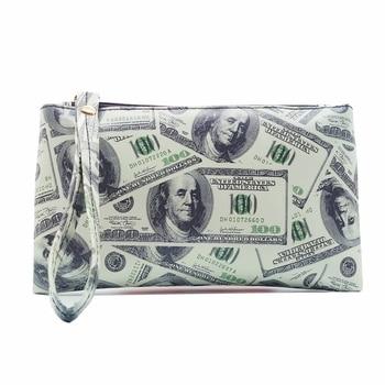 2019 New Fashion Dollar Pattern Men Women Wallets PVC Leather Bag Zipper Small Clutch Coin Purse Phone Wristlet Portable Handbag 1