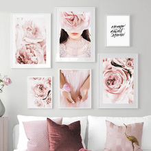 Pink Peony Rose Flower Plant Girl Quotes Wall Art Canvas Painting Nordic Posters And Prints Pictures For Living Room Decor