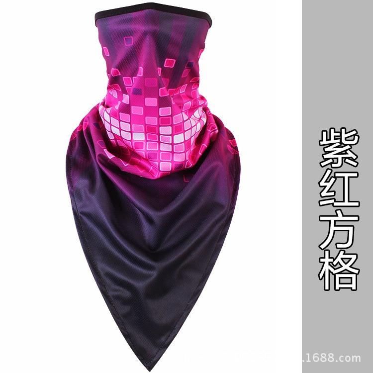 Новое ледяное шелковое треугольное полотенце крутой дышащий платок на голову воротник Мужская и женская маска от Солнца маска ошейник - Цвет: Purple square
