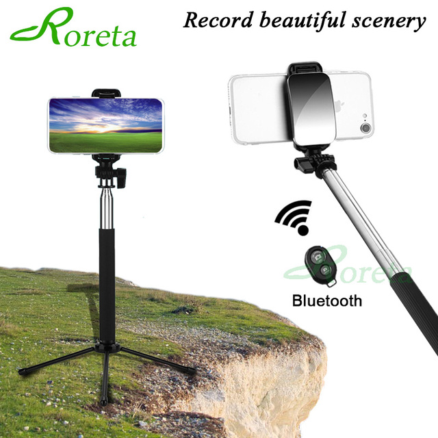 Roreta Portable Wireless Selfie Stick Bluetooth Remote Control Expandable Handheld Monopod Tripod With Mirror For Android IOS