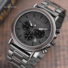 בובו ציפור הכרונוגרף גברים שעון עץ יוקרה נירוסטה קוורץ שעוני יד עם לוח שנה relojes דה marca famosa Christma
