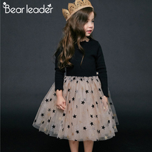 Bear Leader Girl Dress 2019 Autumn Winter Star Sweatshirt Fashion Long Sleeve Toddler Dresses 2-6years