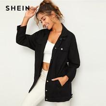 SHEIN noir solide poche et bouton avant Denim veste manteau femmes automne Streetwear col rabattu vestes décontractée Outwear