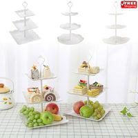 3 ярусная пластиковая подставка для торта послеобеденный чай свадебные тарелки вечерние тарелка для десерта фруктовая стойка для хранения ...