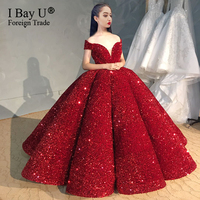 100% Real Pictures TikTok Off Shoulder Wine Red Wedding Dress High Quality Shiny Sequin Ball Gown Princess Dresses 2020