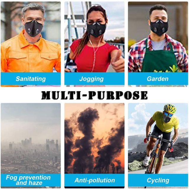 Windproof Dust Mask Sports Mask Activated Carbon Filter Exhaust Pipe Fitness Running Motorcycle Riding Mask 4