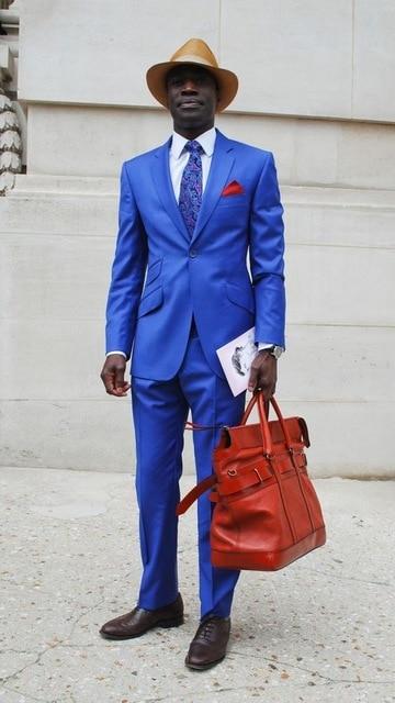 Latest Coat Pant Designs Royal Blue Businiss Men Suits Slim Fit Skinny 2 Pieces Prom Tuxedos Casual Suits (Jacket+Pants)