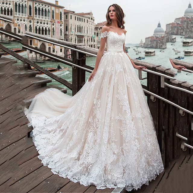 Fantastic Tulle A line Wedding Dresses Off The Shoulder Lace Appliques Princess Boho Wedding Gowns Lace Up Back Bridal Gown