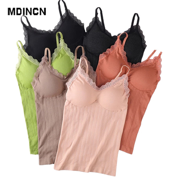 2021 New Summer Sexy All-match Long Women's Lace Tank Tops Bottoming Camis Top Underwear Sleeveless Padded Camisole Femme 1