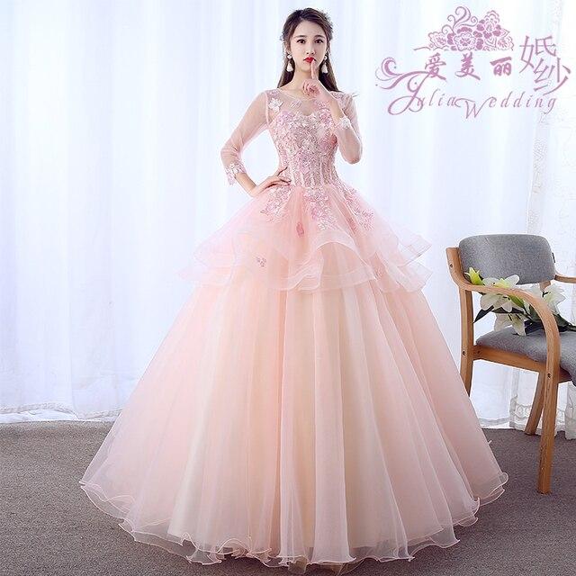 Sweet 16 Dress Appliques Beaded Ball Gown Quinceanera Dresses 2019 Romantic Long Sleeve Debutante Dress For Vestido de 15 anos
