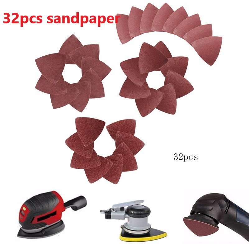 32Pcs 60/80/120/240 Triangular Grit Sanding Sheet Discs Grinder Sandpaper Pad 80mm Sand Sheets Hook And Loop Sanding Disc Polish