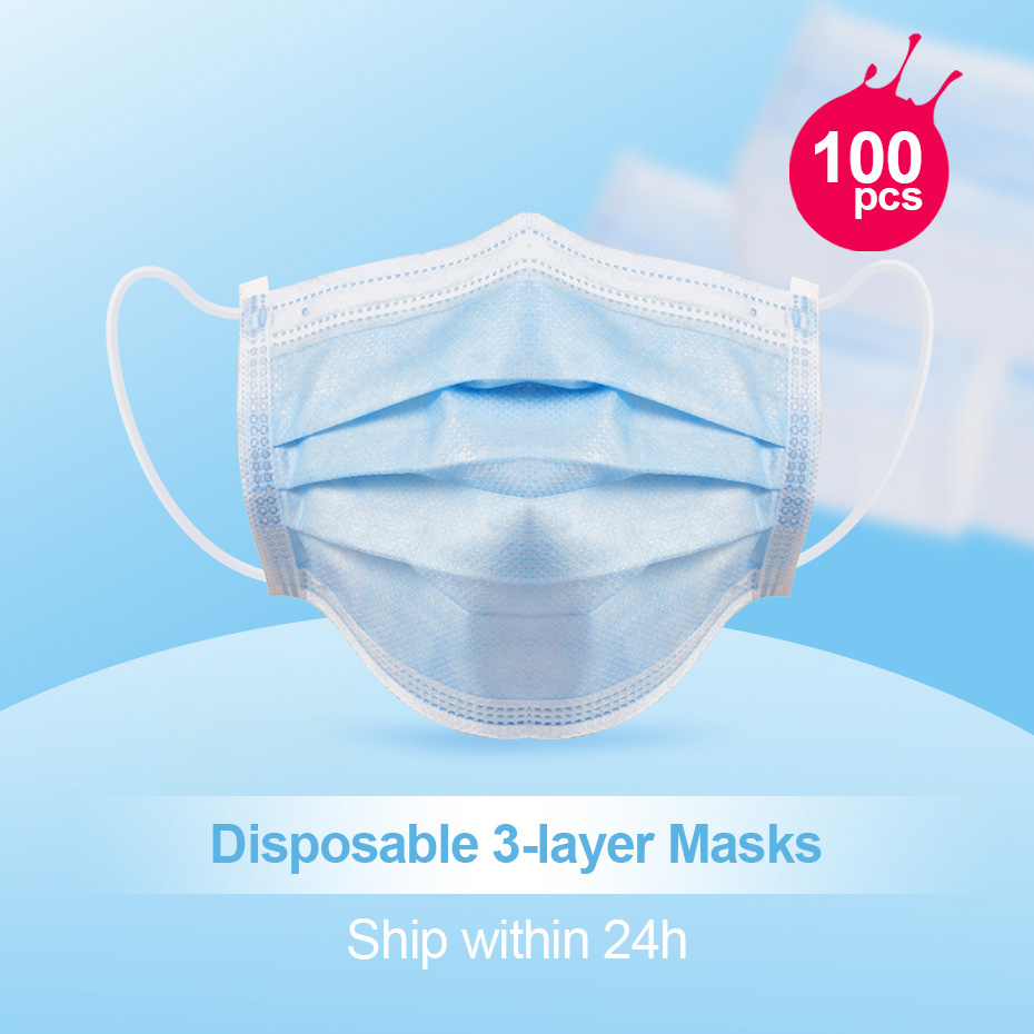 100ps Mouth face Prevent Bacteria Mouth face Mask Earloops-Mask formaldehyde Non Woven Disposable Anti dust bad smell mouth Mask