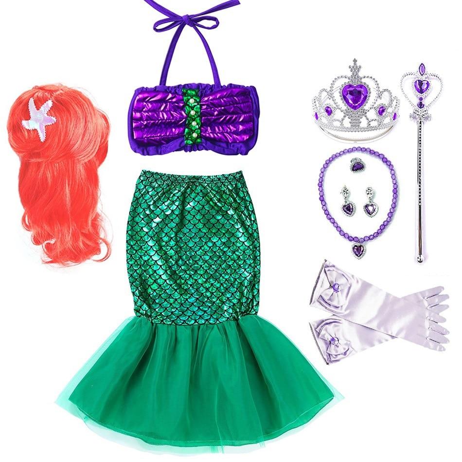 Little Girls Mermaid Ariel Dress Kids Summer Princess Costume Children Halloween Party Fancy Dress Up Christmas Birthday Clothes