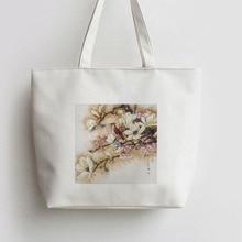 цены Magnolia red bird Canvas Tote bag Cartoon Shopping bags Shoulder Reusable Shopper Grocery Bag AN401