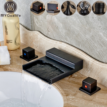 Deck Mounted Black Wide Waterfall Spout Bath Tub Sink Faucet Double Handle Bathroom Basin Hot and Cold Mixer Taps sognare basin bathroom faucet pull out gold black bath sink crane copper sink mixer taps hot and cold deck mounted wash faucet