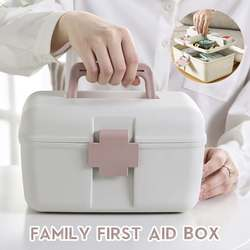 Family First Aid Box Emergency Kits Case Portable Wound Treatment Pills Storage Box For Home Car Travel 3 Colors