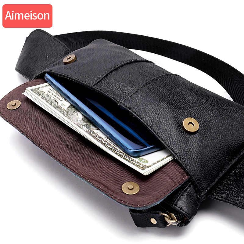 Aimeison 本革ウエストパックファニーパックベルトバッグ電話ポーチバッグ旅行ウエストパックの男性のウエストバッグ革ポーチ