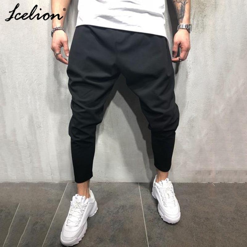 IceLion 2020 Men's Pants Pencil Pantalon Homme Solid Color Elastic Casual Mens Slim Fit Trousers Drawstring  Pants Sweatpants
