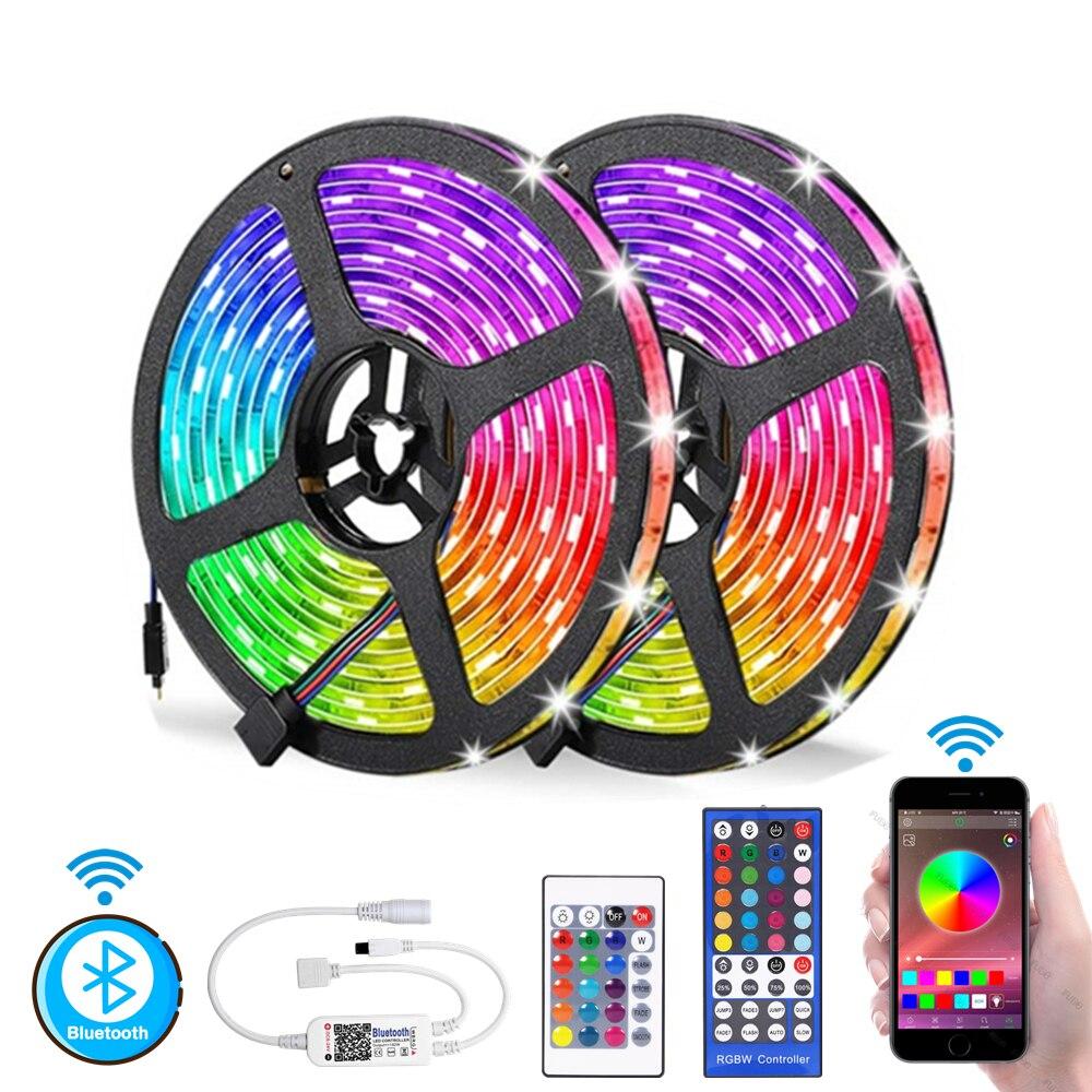 Светодиодная лента RGB, 5 м, 10 м, светодиодный светильник 5050 SMD, водонепроницаемая лента с Bluetooth и 24-клавишным управлением, 12 В постоянного тока, ...