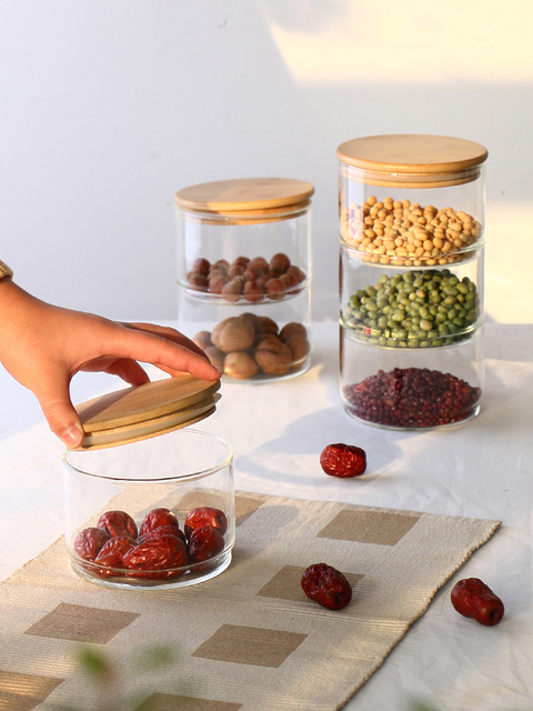 Heat-Resistant Glass Storage Tank Sealing Tea Free Stacked Multi-Layer Storage Dried Spices Food Storage Bottle 5