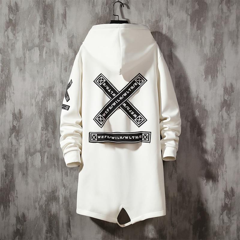 Hooded Trench Coat for Men Fashion Webbing Spring Autumn Harajuku Windbreaker Overcoat Male Casual Outwear Hip Hop Men Jacket