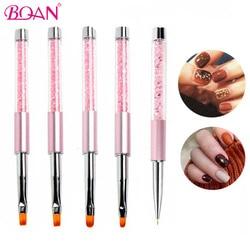 BQAN-poignée en cristal rose, brosse pour Nail Art, stylo à ongles avec capuchon, outils de manucure pour Gel UV, 1 pièce #6 rose