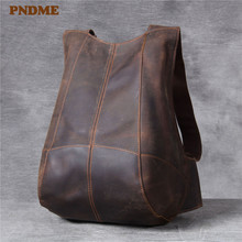 PNDME men's women's genuine leather small backpack simple retro waterproof designer high quality crazy horse cowhide bagpack